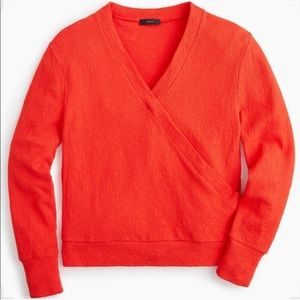 NWT J. Crew Red Faux Wrap Long Sleeve Top